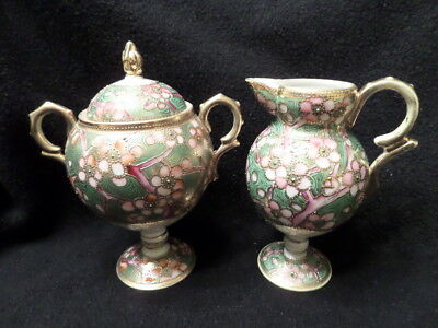 Antique NIPPON Creamer and Sugar w/ Lid Set,  Hand Painted - Gorgeous!