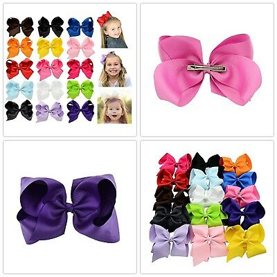 15 Pcs Hair Bows Girls Ribbon Lot 6 Inch X Large Alligator Clips Mix Colors NEW