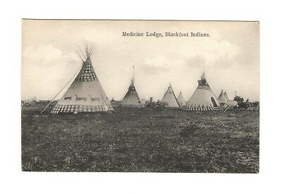 Vintage Native American Teepee Medicine Lodge Blackfoot Indians Private Postcard