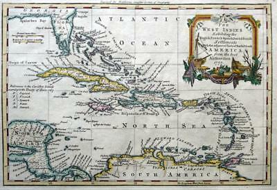 WEST INDIES CARIBBEAN FLORIDA c1778  BY THOMAS JEFFERYS  GENUINE ANTIQUE MAP