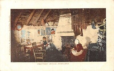 Shetland Isles Crofters' House Interior Couple Sit Round Fire Printed Card