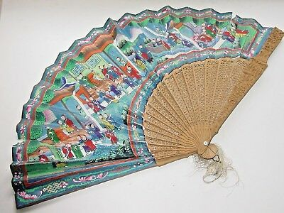 Eventail ancien chinois mille visages Chine 19 th XIX s Chinese fan 1000 faces