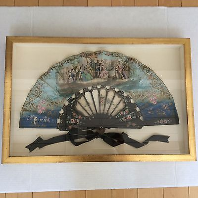 Turn Of The Century Antique Hand Painted Romantique Fan In Gilded Shadow Box