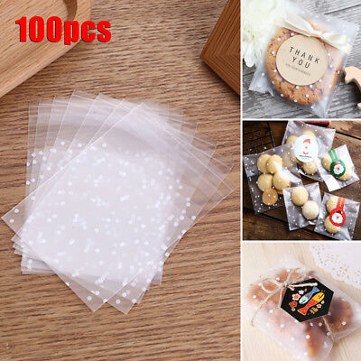 100Pcs/set Cookies Candy Self-Adhesive Plastic Bags Baking Biscuits Package Bags