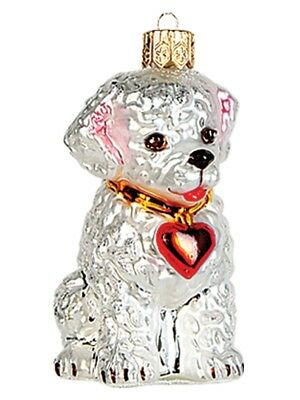 Bichon Frise Dog Polish Mouth Blown Glass Christmas Ornament  Tree Decoration