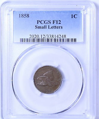 1858 Small Letters Flying Eagle Cent : PCGS F12