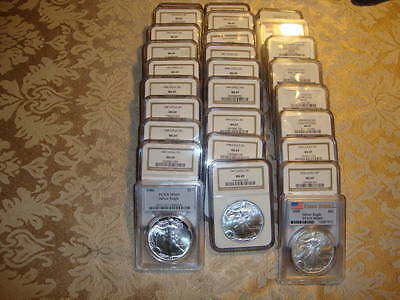 Lot of 28 Silver Eagles 1986 – 2013 - PCGS and NGC MS69