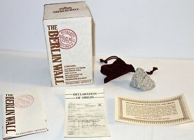 AUTHENTIC Vintage STONE Cut from BERLIN WALL in ORIGINAL BOX w/BOOK~COA~POUCH!