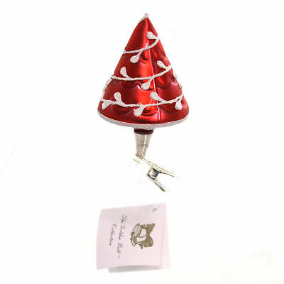 Golden Bell Collection RED CHRISTMAS TREE CLIP-ON Glass Hand Painted Nm723