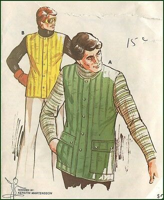 1970s Vintage Lined Winter Vest for Quilted Fabric Sewing Pattern Men's S M L XL