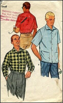 1950s Vintage Men's Classic Sport Shirt Long Short Sleeves Pattern Chest 34 - 36