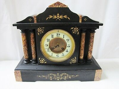 Antique French Japy Freres Marble Four-Column Mantel Clock