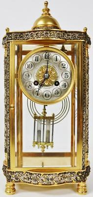 Antique French Brass & Pierced Silvered 4 Glass Crystal Regulator Mantel Clock