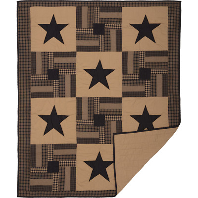 BLACK CHECK STAR Quilted Throw Primitive Patchwork Block Khaki Tan VHC Brands