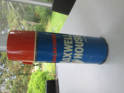 Vintage 1960s Maxwell House Coffee Metal Thermos Brand Glass Lined 2776