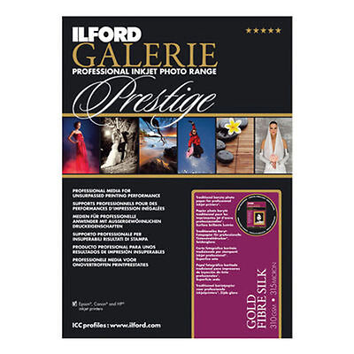 Ilford Galerie Prestige Smooth Gold Fibre Silk Inkjet Paper A4 25 sheets 310gsm