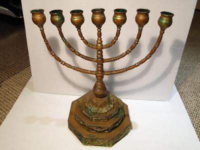 Vintage Judaica Bronze Menorah In Style of First Temple