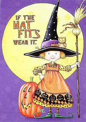 Mary Engelbreit-IF THE HAT FITS TINY WITCH OWLET-Halloween Card w/Envelope-NEW