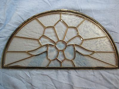 Antique Transom Window - Semi-Circle - 3 Layers of Glass - Frost Crystal - Exlnt