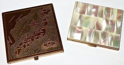 LOT of TWO (2) VINTAGE COMPACTS~WWII AIRBORNE JAPAN MAP and MOTHER of PEARL! NR!