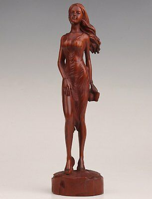 Rare Chinese Old Boxwood Hand Carved High-Heeled Shoes Sexly Big Statue Netsuke