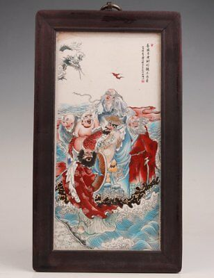 Old Wood Border Porcelain Plate Painting Large Chinese Decorative Painting Art
