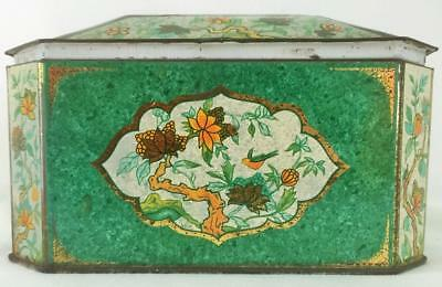 Vintage Metal Box Co. England Decorative Metal Container Green /Gold w/Flowers