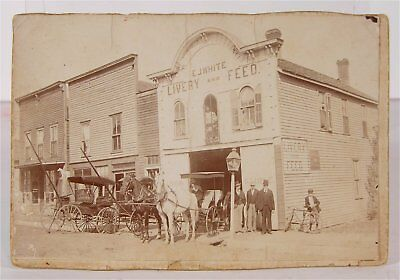 ca1890 LIVERY STABLE AND FEED STOREFRONT CABINET CARD PHOTOGRAPH SABETHA KANSAS