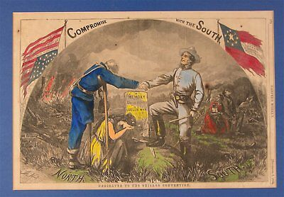 """1864 CIVIL WAR HAND COLORED PRINT By THOMAS NAST """"COMPROMISE WITH THE SOUTH"""""""