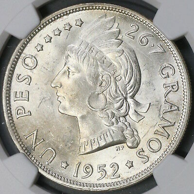 1952 NGC MS 64 Dominican Republic Peso 20K Minted Flashy Silver Coin (16092002D)