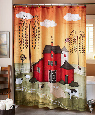 Barnyard FARM SHOWER CURTAIN Cow Pig Sheep Country Bathroom Decor