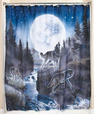 Howling WOLF PACK SHOWER CURTAIN Full Moon Wolves Wild Life Bathroom Decor