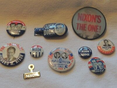 Nixon Political Buttons, Clickers, Flasher and Pin Back Collection