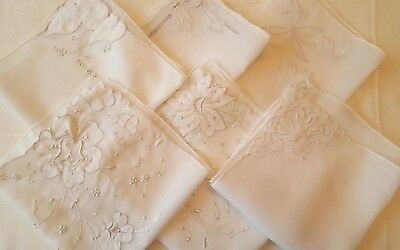 Vintage lot of 6 Beautiful White Work & Madeira Hand Rolled Wedding Hankies