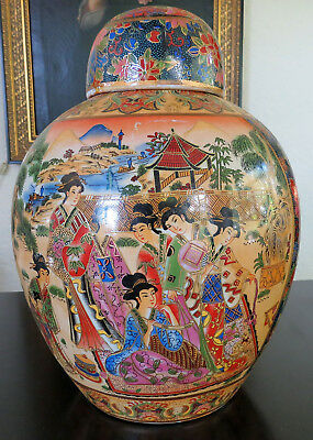 "Vintage Japanese Satsuma Gilt Covered Ginger Jar 12.5"" Hand Painted Moriage"