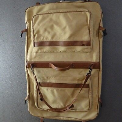 7e2043221449 EDDIE BAUER FORD Canvas and Leather Garment Bag-Tan-Pockets-Hook ...