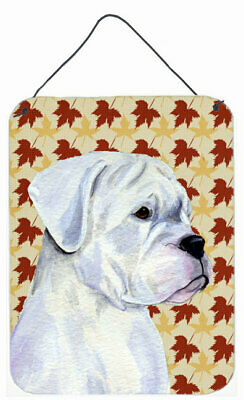 Boxer Fall Leaves Portrait by Suzanne Staines Painting Print Plaque