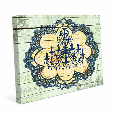 Click Wall Art Blue Chandelier Lace Graphic Art on Wrapped Canvas