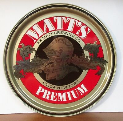 Vtg Matt's Premium F.X. Matt Brewing Knight Metal Tin Beer Tray Utica New York