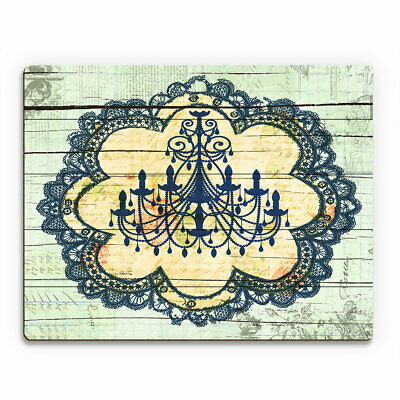 Click Wall Art Blue Chandelier Lace Graphic Art on Plaque