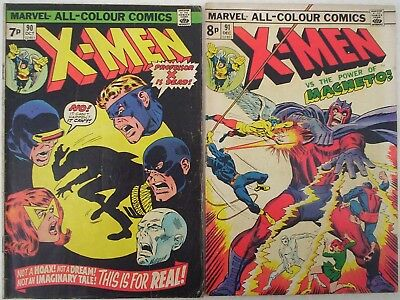 """1974 TWO x Early """"X-MEN"""" Marvel comics #'s 90 and 91. Bronze age. VG/F"""