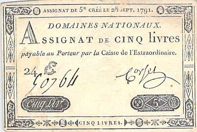 France French Revolution 5 Livres Assignat Note 28 September 1791 P-A49