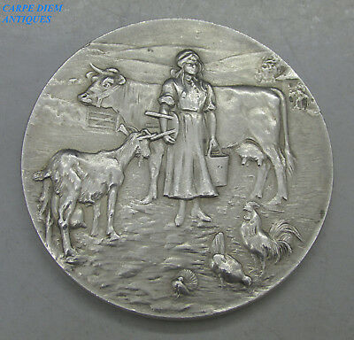 """DAIRY FARMERS ASSOCIATION SOLID SILVER PRIZE MEDALLION 59g """"LORD POLTIMORE"""" 1927"""