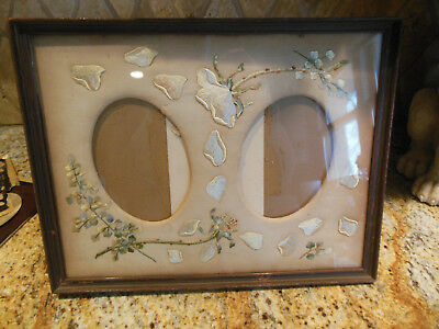 ANTIQUE SILK EMBROIDERED PHOTO MAT & PICTURE FRAME w/stand~PHILIP SUVAL,NEW YORK