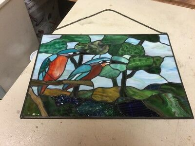 Hand Crafted Multi Colored Stained Glass Pannel Trees& Birds 16 X 11 VGUC