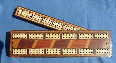 Antique Inlaid Cribbage Board with Swivel set of Extra Holes
