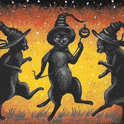 2x2 DOLLHOUSE MINIATURE PRINT OF PAINTING RYTA 1:12 SCALE HALLOWEEN WITCH CAT