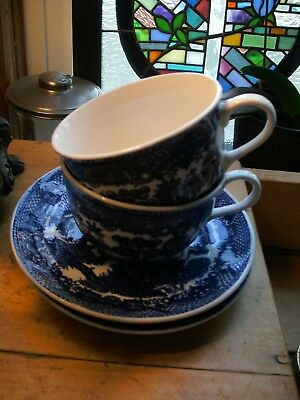 Pretty Vintage Japan Blue Willow 2  Cup And Saucer Blue &  White Willow Oriental