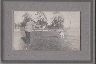 Vintage Photograph 1930S Man Pointing Gun At German Wirehaired Hunting Dog Photo