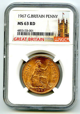 1967 Great Britain Britannia Penny Ngc Ms63 Rd Last Year Of Large Copper Design